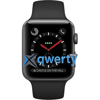 Apple Watch Series 3 GPS + LTE MQJW2 38mm Space Black Stainless Steel Case with Black Sport Band