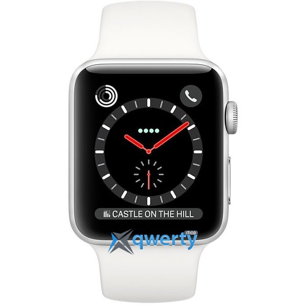 Apple Watch Series 3 GPS + LTE MQK82 42mm Stainless Steel Case with Soft White Sport Band