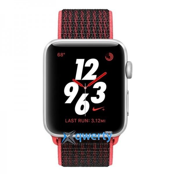 Apple Watch Series 3 Nike+ (GPS + LTE) MQLE2 42mm Silver Aluminum Case with Bright Crimson/BlackSport tBand
