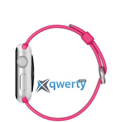 Apple Watch Sport 38mm Silver Aluminum Case with Pink Woven Nylon MMF32