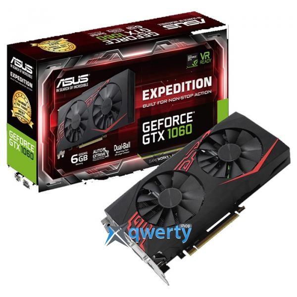 Asus PCI-Ex GeForce GTX 1060 Expedition 6GB GDDR5 (192bit) (1506/8008) (DVI, 2 x HDMI, 2 x DisplayPort) (EX-GTX1060-6G)