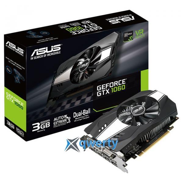 Asus PCI-Ex GeForce GTX 1060 Phoenix 3GB GDDR5 (192bit) (1506/8008) (DVI, 2 x HDMI, 2 x DisplayPort) (PH-GTX1060-3G)