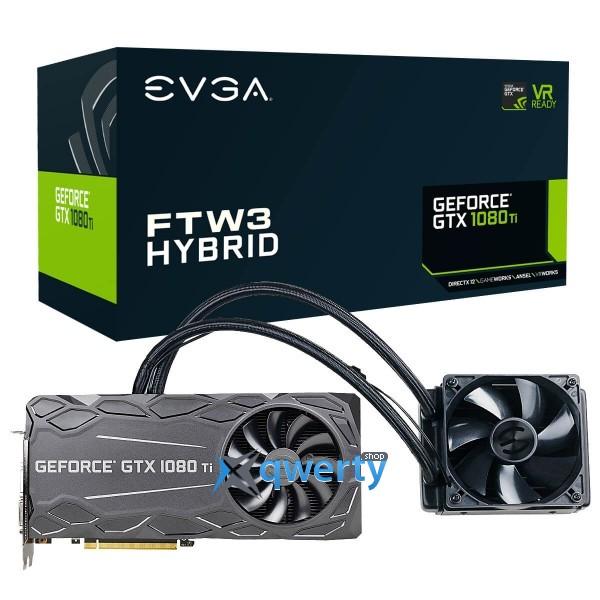 EVGA GeForce GTX 1080 Ti 11GB GDDR5X (352bit) (1569/11016) (DVI, HDMI, DisplayPort) FTW3 Hybrid Gaming (11G-P4-6698-KR)