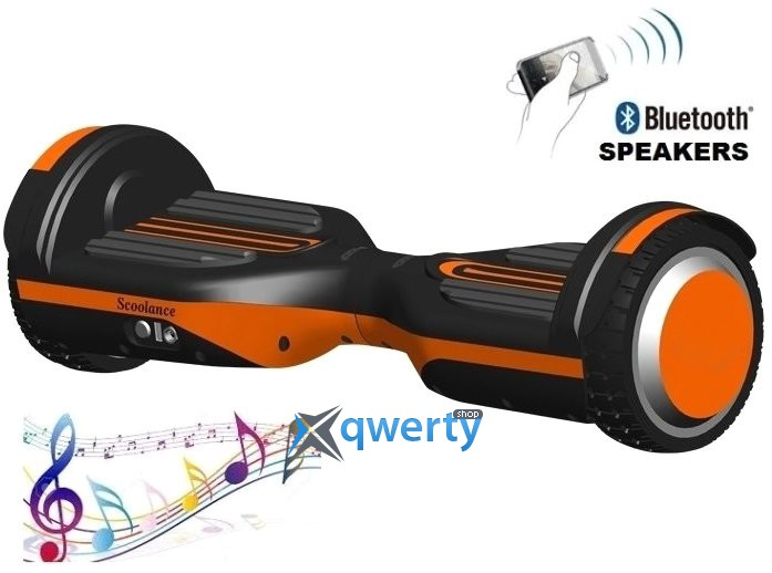 Гироборд Erover BD-S007M-Orange, с подсветкой и колонкой + пульт и сумка, USB, белый