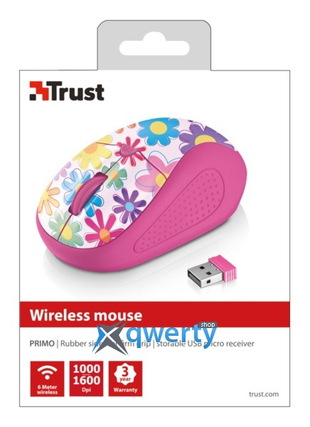 Мышь Trust Primo Wireless Mouse Pink Flowers (21481)