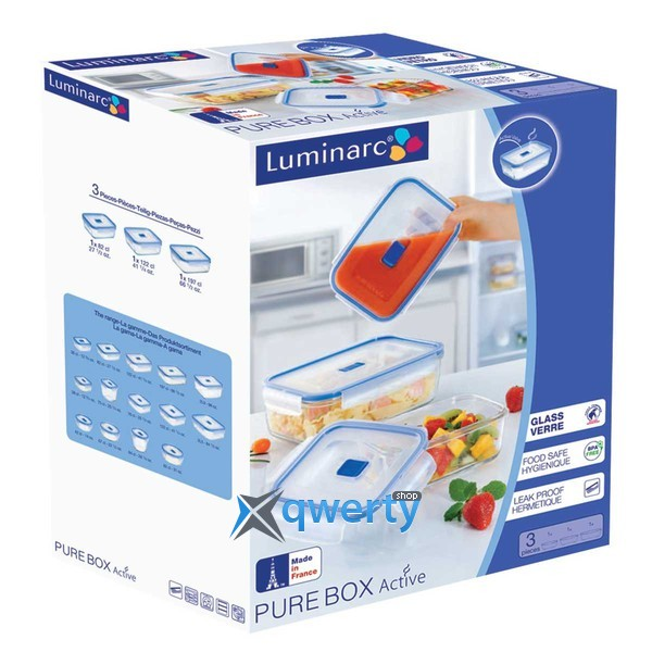НАБОР КОНТЕЙНЕРОВ LUMINARC PURE BOX ACTIVE С КРЫШ./КВАДР. 380МЛ. 760МЛ. 1220МЛ. H7685