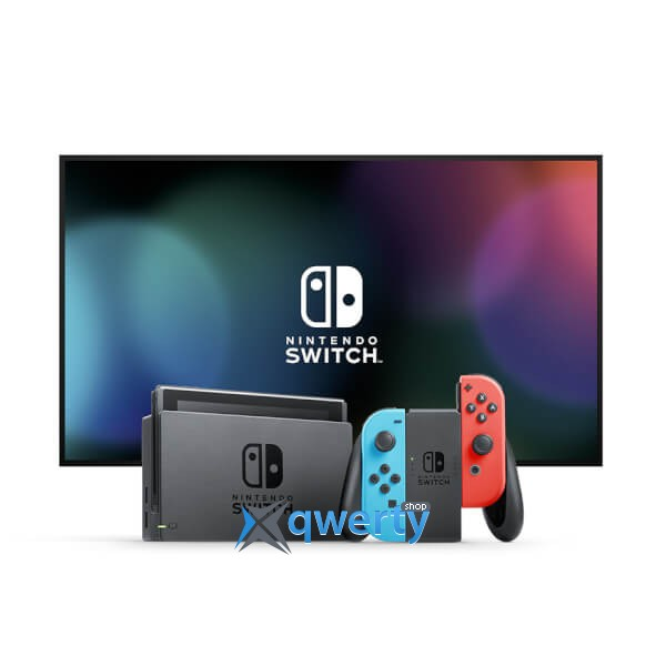 Nintendo Switch with Neon Red Joy-Con + Neon Blue Joy-Con Controllers