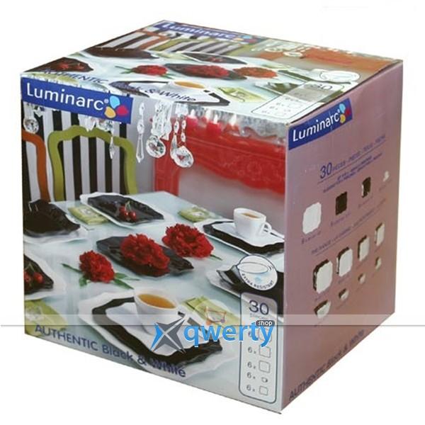 СЕРВИЗ LUMINARC AUTHENTIC BLACK&WHITE X30 ПРЕДМЕТОВ СТОЛОВЫЙ E6199