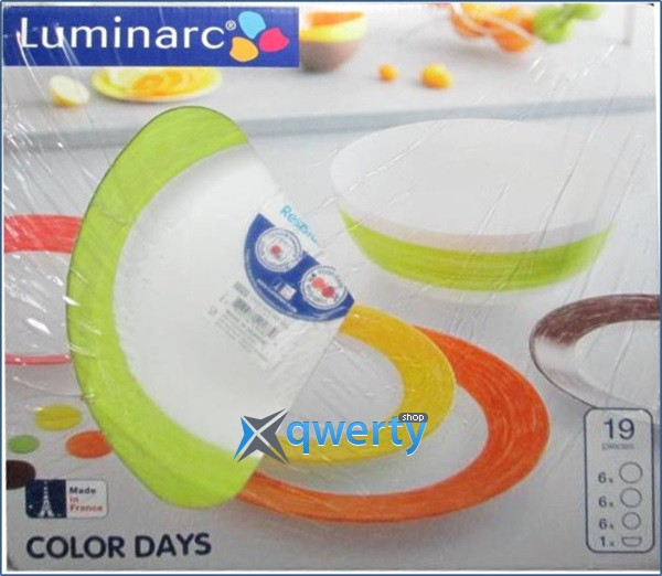 СЕРВИЗ LUMINARC COLOR DAYS GREEN 19 ПРЕДМЕТОВ L1502