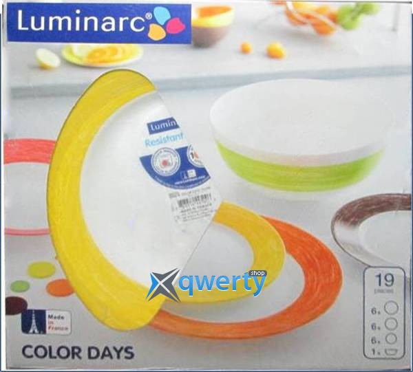 СЕРВИЗ LUMINARC COLOR DAYS YELLOW 19 ПРЕДМЕТОВ L1505