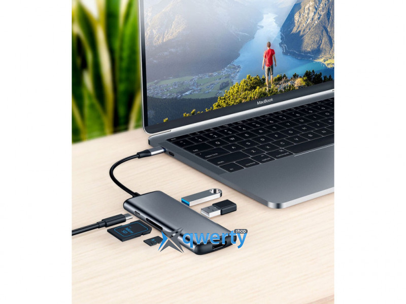 USB Type-C > Hub Xiaomi HAGiBiS Docking Station 6-in-1 (USB-C, PD, USB, HDMI, microSD/SD) Gray (UC39-PDMI) Gray